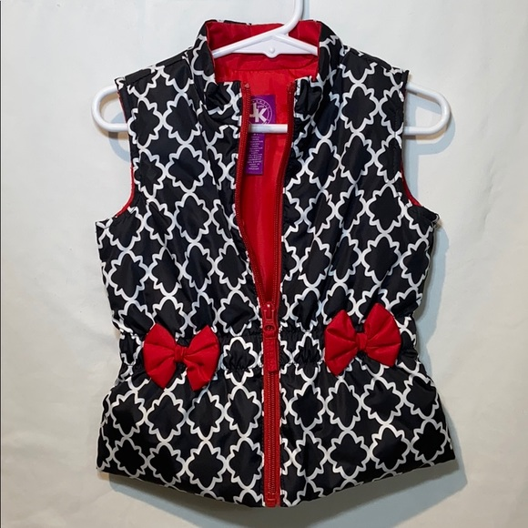 JK Designs Other - Toddler Girl  Puffer Vest black/white/red size 3T